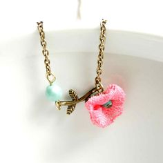 Pendant Necklace in Pink and Turquoise with Small by vadjutka