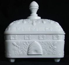 Milk glass honey box Indian glass co Tiara