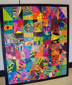 instructions for planning a collaborative contemporary painted quilt candice ashment art: Abstract Mural - Our Contemporary Painted Quilt Blocks {tutorial} Art Auction Projects, Class Art Projects, Collaborative Art Projects, Classroom Art Projects, Art Classroom, Group Projects, Auction Ideas, Classe D'art, 3rd Grade Art