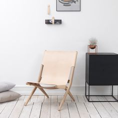 By Lassen 'Saxe' chair in pale neutral - a classic high quality leather folding chair. FREE SHIPPING directly from Denmark. 15% off this week w/ code BL15.