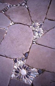 Cracks and crevices in your concrete, just mix and add concrete then press pebble stones in and let dry