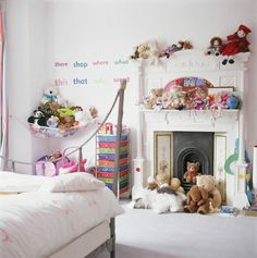 fun fireplace in kids' room; Fireplace Cover, Bedroom Fireplace, Living Room With Fireplace, Faux Fireplace, Decorative Fireplace, Fireplace Ideas, Fireplaces, Little Girl Rooms, Cool Rooms