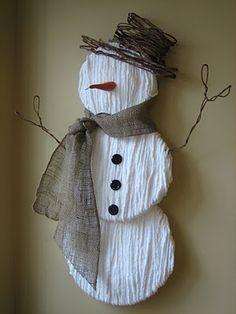 I just love this yarn snowman and his little hat.