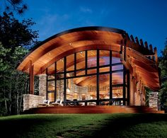 Beautiful And Amazing Cool Wooden House Architecture Design Beautiful Home Designs Use Stone Wall Using Wooden Roof Uses Glass Frame Wood Design Ideas Wood House Design, Roof Design, Hut House, House Roof, Arch House, Tiny House, Metal Building Homes, Building A House, Building Ideas