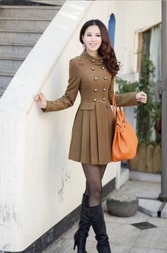 2013 NEW winter, double-breasted elegant fashion sweet cute long ladies winter coat $39.60