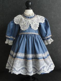 "French Doll Dress Antique Style for Jumeau Bru 18 20""Doll Made in France. I really like this dress."