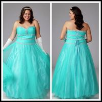 New Arrival Sweetheart  Beaded Long Plus Size Prom Dress 2015-159$