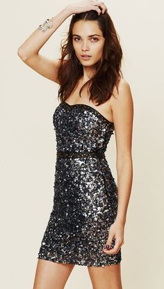 strapless sequin dress / free people