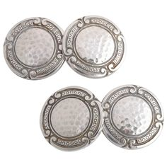 E.I. Franklin & Company Sterling Silver Cufflinks. Circular with hammered silver center surrounded by border of small circles.