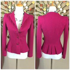 """Armani⚜Raspberry Pink button up jacket/blazer Armani Collezioni Italian made Raspberry Pink button up jacket/blazer. Fully lined and absolutely stunning    Exquisite tailoring and design. One owner and in wonderful condition.  Measures 24"""" long 16"""" across bust 14"""" at small point and 24"""" long sleeves. Perfect weight for all year use Armani Jackets & Coats"""