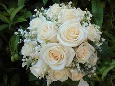 Cream Roses + White Lily Of The Valley Wedding Bouquet