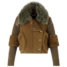 Burberry Shearling Jacket ❤ liked on Polyvore featuring outerwear, jackets, burberry, coats, brown jacket, shearling jacket, burberry jacket and brown shearling jacket