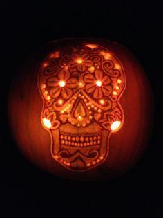 Sugar Skull Pumpkin - Too cool!