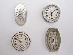 Four Vintage Metal Wrist Watch Faces.  ($10 for 4 faces)  Available at http://www.uncannyartist.com/products/four-metal-watch-faces.