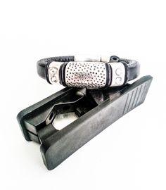 Silver Black Leather Hammered Crystal Bracelet, Silver Hammered Bracelet, Silver Crystal Bracelet, Crystal Leather Bracelet - pinned by pin4etsy.com