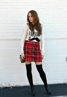 plaid skirt, graphic knit, over-the-knee socks | Affordable fall and winter outfit ideas, fall fashion & stylish outfits