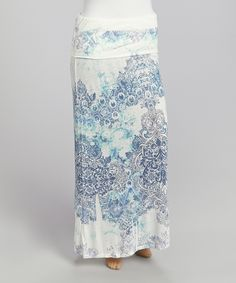 Another great find on #zulily! Aqua & Blue Damask Maxi Skirt - Plus by Poliana Plus #zulilyfinds