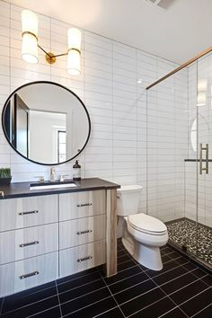 Check out this significant pic as well as look into the presented facts and strategies on Small Bathroom Renovation Ideas Bathroom Renovation Trends, Bathroom Trends, Subway Tiles Bathroom, Black Subway Tiles, Bathroom Mirror, Bathroom Interior, Bathroom Flooring, Bathroom Decor, Bathroom Lighting Design