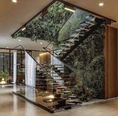 Home Stairs Design, Dream Home Design, Modern House Design, Stair Design, Glass House Design, Modern Tropical House, Dream House Interior, Luxury Homes Dream Houses, Dream Homes