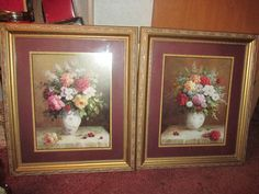 """Two Home Interiors Beautiful Floral Pictures By Jack Terry 24""""X28"""" 