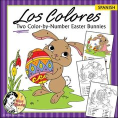 Use these two adorable color by number worksheets to reinforce Spanish color names with beginning Spanish students.