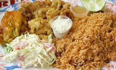 Bahamian classic: cracked conch, peas & rice, coleslaw, and macaroni & cheese... yum!!