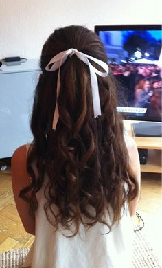 Curls with a White Ribbon>>>>>Awesome. Althogh i would use it with a hair bow instead of a ribbon.