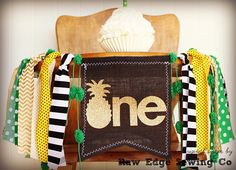 PINEAPPLE Birthday High Chair Highchair Banner Pool Party