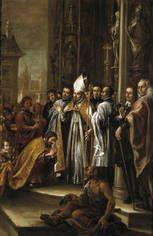 Juan Valdés Leal. San Ambrosio absolviendo al Emperador Teodosio. Hacia 1673. Museo del Prado.