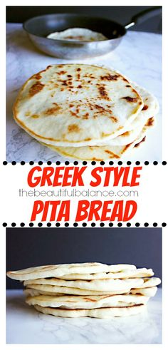Homemade Greek Style Pita Bread is dairy free, vegan, can be made with only 4 ingredients, and beats any store bought variety!