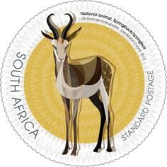 South African stamp designed by Lize-Marie Dreyer Union Of South Africa, African Symbols, South African Design, Colonial, Under The Rainbow, National Symbols, Out Of Africa, African Animals, Small Art