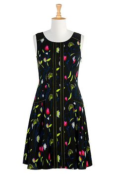 I <3 this Floral print crepe A-line dress from eShakti