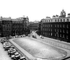 St James Square, Edinburgh, May 1956 Edinburgh Scotland, Scotland Travel, Derelict Buildings, Grandparents Day, Saint James, Street Signs, Capital City, Vintage Photographs, Aerial View