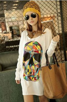 Loose Colored Skull Floral Woman Bat Sleeve Top T-shirt