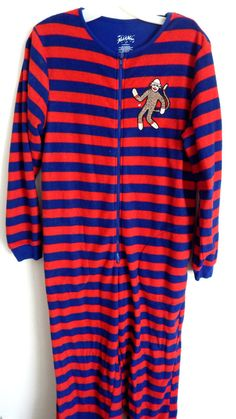 Nick & Nora Blue & Red Stripe Footed Pajamas Sock Monkey Style sz S…