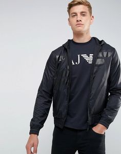 Armani Jeans Mixed Fabric Large Eagle Zip Through Hooded Sweat by Armani Jeans http://ift.tt/2F50qPj