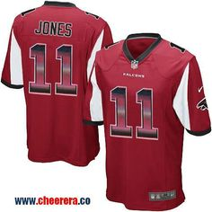 nike falcons 11 julio jones red team color mens stitched nfl limited strobe jersey