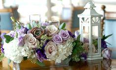 Pretty Purple Centerpieces--Especially loving the lantern!
