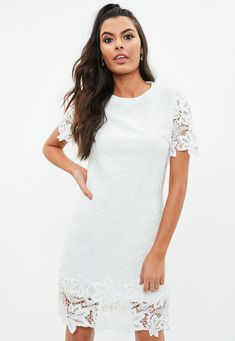 White Lace Overlay Mini Dress | Missguided