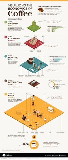 Coffee Plant, Coffee Cups, Coffee Prices, Chart Infographic, Coffee Supplies, Different Coffees, Coffee World, Coffee Roasting, Economics