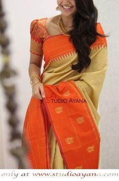 Rasika Exquisite Kanchipuram Designer Silk Saree from Studio Ayana! Pattu Saree Blouse Designs, Fancy Blouse Designs, Bridal Blouse Designs, Traditional Blouse Designs, Designer Silk Sarees, Designer Blouse Patterns, Look Chic, Kanchipuram Saree, Blouse Styles