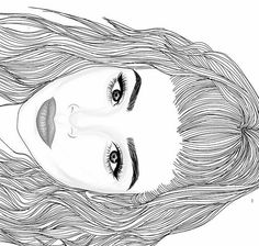 tumblr drawings | outline girl drawing tumblr black and white
