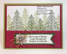 Christmas card using Stampin' Up! Peaceful Pines stamps, Perfect Pines framelit dies, Snowflake Elements, Winter Wonderland embellishments-JBStamper