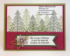 Christmas card using Stampin' Up! Peaceful Pines stamps, Perfect Pines framelit dies, Snowflake Elements, Winter Wonderland embellishments-JBStamper