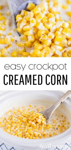 This crockpot creamed corn is super easy and only takes just 5 minutes of prep. You can literally dump the ingredients in and forget it! #corn #creamedcorn #creamcorn #cornrecipes #crockpot #crockpotrecipes #crockpotsides #slowcooker #slowcookerrecipes #slowcookersides #thanksgiving #thanksgivingsides #thanksgivingsidedishes #recipes #iheartnaptime