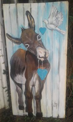 peace donkey Click Visit link for more details Horse Canvas Painting, Pallet Painting, Pallet Art, Painting & Drawing, Canvas Art, Farm Paintings, Animal Paintings, Cow Art, Horse Art
