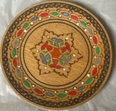 "Vintage ART Wood Hand carved\Painted Decoration Plate Wall Hanging Folk 5""Ornate 