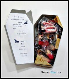 Coffin Halloween party invitations - such a cute idea!