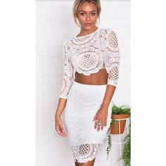 Fashion Back Split Solid White Lace Sheath Knee Length Skirt White Lace Crop Top, White Lace Skirt, Lace Crop Tops, Lace Dress, White White, Celebrity Prom Dresses, New Style Tops, Lace Homecoming Dresses, Sexy Skirt