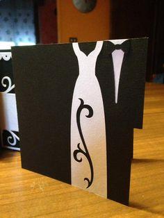 biglietto matrimonio. cartoncino gr.270 bianco e nero. tagliato con silhouette portrait